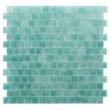 "Quartz 0.75"" x 0.75"" Glass Mosaic Tile in Aqua/ Green"