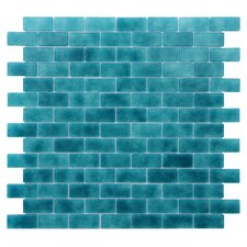 "Quartz 0.75"" x 1.63"" Glass Mosaic Tile in Turquoise/Blue"