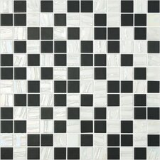 "Moon Blends 12.375"" W x 12.375"" L Eco Glass Mosaic in White Comet"