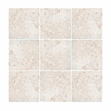 "Tumbled 4"" x 4"" Stone Field Tile in Beige"