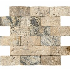 """Pillowed 2"""" x 4"""" Stone Mosaic Tile in Beige"""