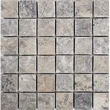 """Tumbled 2"""" x 2"""" Stone Mosaic Tile in Silver"""