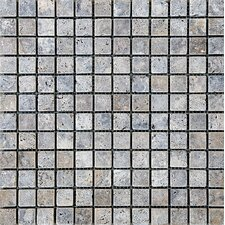 """Tumbled 1"""" x 1"""" Stone Mosaic Tile in Silver"""