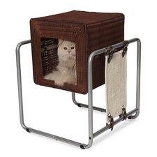 "21"" Rattan Vesper Cube Cat Tree"