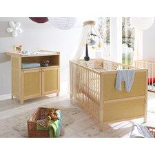 2 tlg. Umwandelbares Kinderbett- und Wickeltisch-Set mit Matratze