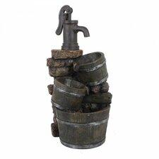 Brunnen in Holz-/Steinoptik