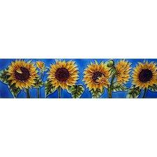 Horizontal Sunflower Tile Wall Decor