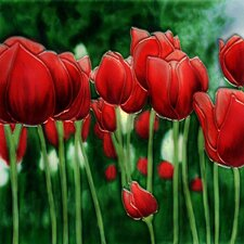 Red Tulip Tile Wall Decor