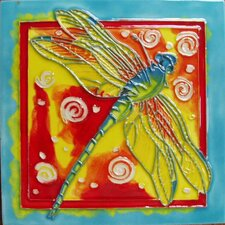 Dragonfly and Blue Frame Tile Wall Decor