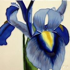 Blue Iris White Background Tile Wall Decor