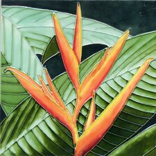 Orange Bird of Paradise Tile Wall Decor