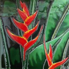 Orange Heliconia Tile Wall Decor