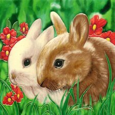 2 Rabbits Tile Wall Decor