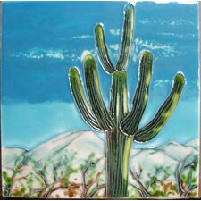 Green Cactus Blue Sky Tile Wall Decor