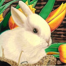 Rabbit and Yellow Lilly Tile Wall Decor