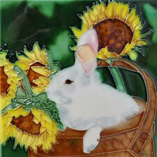 Rabbit with Sunflower Tile Wall Decor