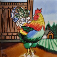 Multi Color Rooster Tile Wall Decor