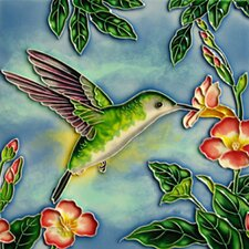 Hummingbird with Green and Orange Flowers Tile Wall Decor