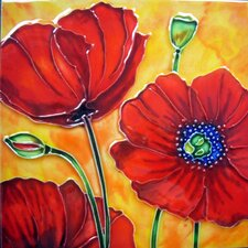 3 Red Poppies with Orange Background Tile Wall Decor