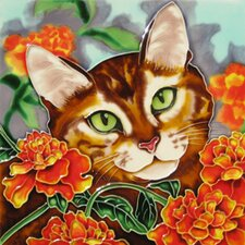 Cat with Orange Carnation Flowers Tile Wall Decor