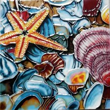 Sea Shells with Sea Star Tile Wall Decor