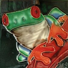 Green Frog on A Red Stem Tile Wall Decor