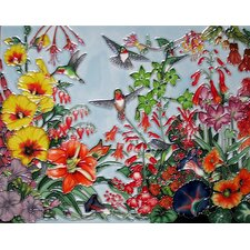 Horizontal Hummingbird and Flower Tile Wall Decor