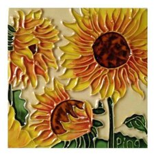 3 Sunflowers Tile Wall Decor