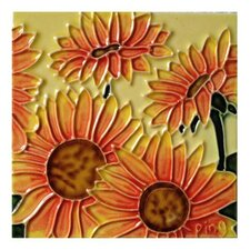 4 Sunflowers Tile Wall Decor