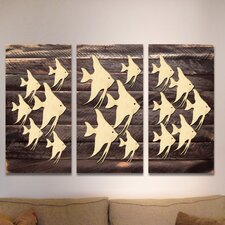 3 Piece Gallery Vintage Fishes Wooden Wall Décor Set