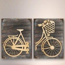 Gallery 2 Piece Messenger Bike Wooden Wall Décor Set