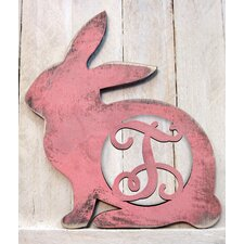 Vintage Rabbit Rustic Single Letter Wooden Shape Wall Décor
