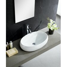 Modern Vitreous China Bulging Oval Vessel Sink Vessel Bathroom Sink