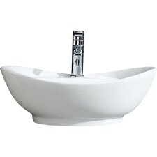 Modern Vitreous Large Oval Vessel Sink Vessel Bathroom Sink with Overflow
