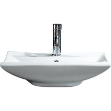 Modern Vitreous Square Vessel Sink Vessel Bathroom Sink with Overflow
