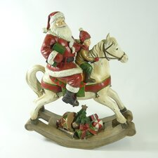 Traditional Santa on Rocking Horse Table Top Décor
