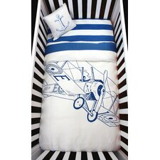 Biplane  Organic Baby Down Duvet 4 Piece Crib Bedding Set