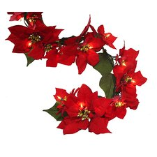 Artificial Pre-lit Christmas Red Poinsettia Garland