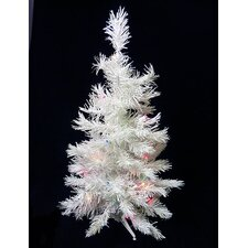 3' Snow White Artificial Christmas Tree with 50 Multi LED Lights