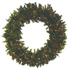 Pre-lit Battery Operated Canadian Pine Artificial Christmas Wreath with Multi-Color LED Lights