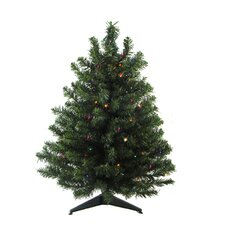 3' Green Artificial Christmas Tree with 100 LED Multi-Color Lights and Stand