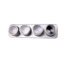 5 Piece Canister Spice Jar and Magnetic Rack Set