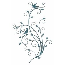 Metal Birds and Leaves Wall Decor