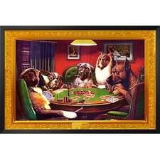 'Bold Bluff, Dogs Playing Poker' by C.M. Coolidge Framed Graphic Art