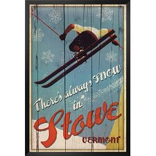'There's Always Snow in Stowe Vermont Ski' Framed Vintage Advertisement
