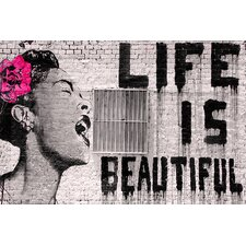 Life Is Beautiful by Banksy Graphic Art on Wrapped Canvas