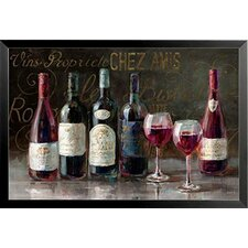 'Bistro Reds - Wine Glass and Bottles' by Danhui Nai Framed Painting Print