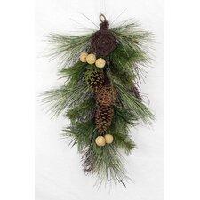 Christmas Pine Teardrop Swag with Twig Balls, Bird Nest and Walnut
