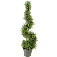 Artificial Cypress Leave Spiral Topiary Plant in Pot