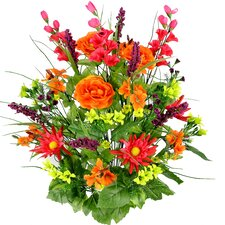 30 Stems Artificial Dahlia, Morning Glory and Ranunculus and Blossom Fillers Mixed Bush